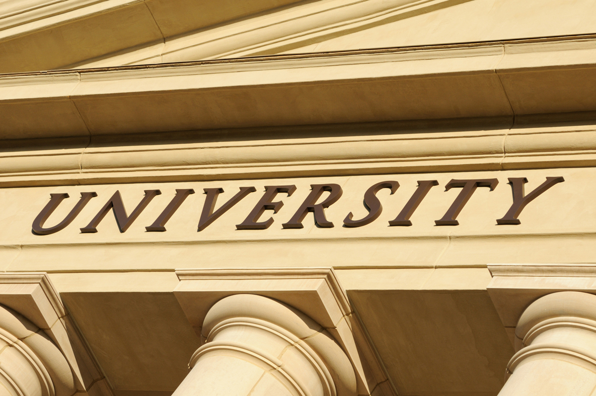 Close up of university sign